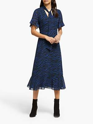 Michael Kors MICHAEL Animal Tie Neck Dress, Black/Twilight Blue