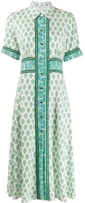 Sandro Paris Mix-Print Shirt Dress