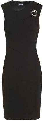 Just Cavalli Buckle-embellished Draped Stretch-jersey Mini Dress