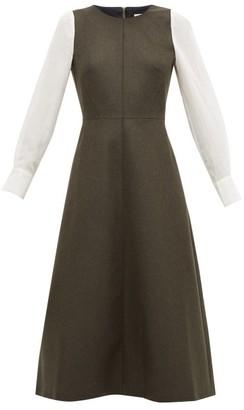 Cefinn - Contrast-sleeve Felted Wool-blend A-line Dress - Womens - Khaki Multi