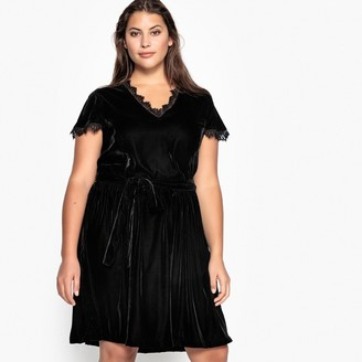 Castaluna Plus Size Tie-Waist Laced Velour Dress