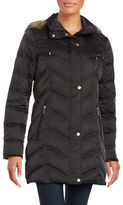 Kenneth Cole New York Quilted Faux Fur-Trim Hooded Jacket