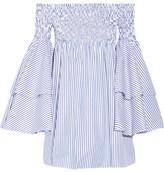 Caroline Constas Apollonia Off-the-shoulder Smocked Striped Cotton-poplin Mini Dress - Blue
