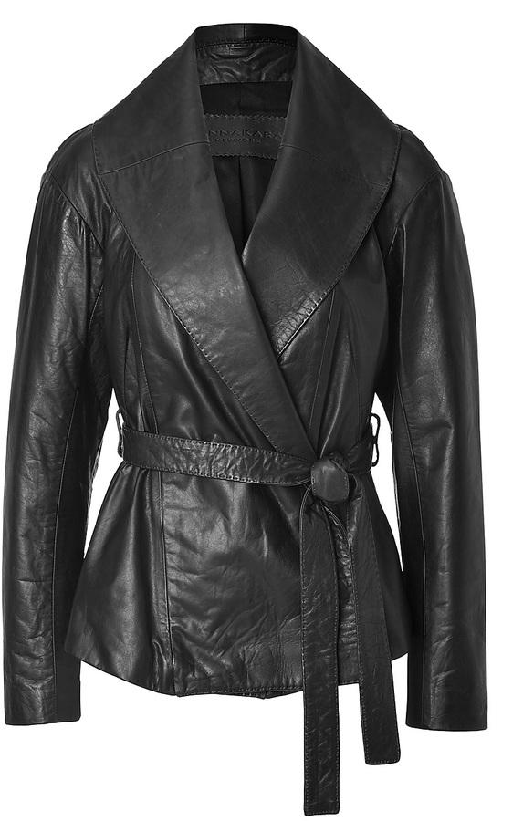Donna Karan Leather Belted Jacket in Black