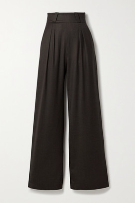 AAIZÉL Pleated Wool-blend Twill Wide-leg Pants - Dark brown