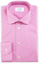 Eton Contemporary-Fit Gingham Dress Shirt, Raspberry/White