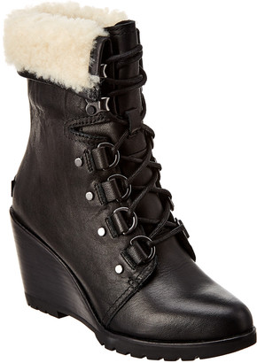 Sorel After Hours Lace Up Leather Wedge Boot