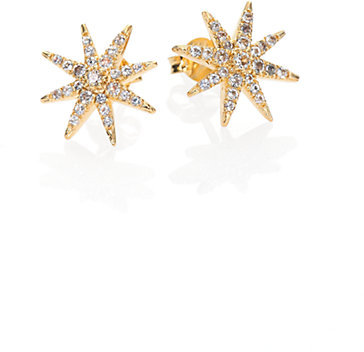 Elizabeth and James Compass Rose Pavé White Topaz Stud Earrings