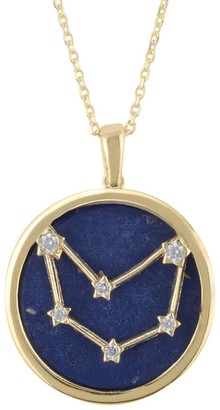 Latelita Zodiac Lapis Lazuli Gemstone Star Constellation Pendant Necklace Gold Capricorn
