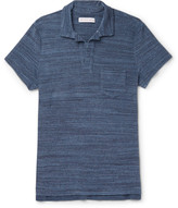 Orlebar Brown - Slim-fit Open-collar Mélange Cotton-terry Polo Shirt