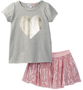 Ten Sixty Sherman Heart of Gold Top & Pink Tutu 2-Piece Set (Toddler & Little Girls)