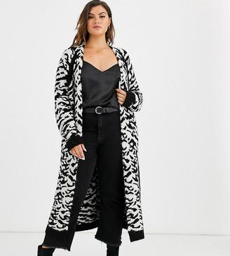 Asos DESIGN Curve maxi cardigan in animal pattern borg knit-Multi
