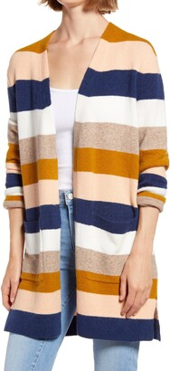 Madewell Kent Stripe Open Front Cardigan