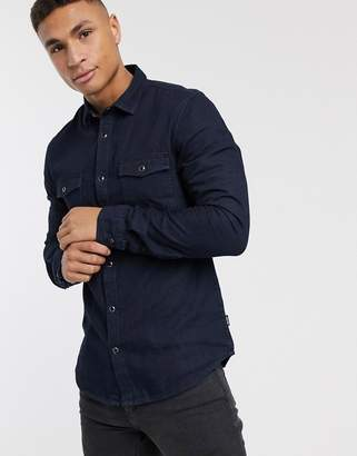 ONLY & SONS long sleeve western denim shirt-Navy