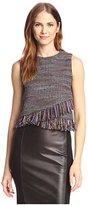 Allison Collection Women's Box Tweed Fringe Crop Top