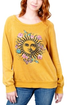 Rebellious One Juniors' Floral Celestial Graphic Sweatshirt