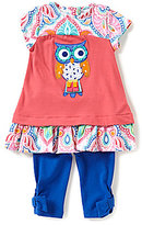 Rare Editions Baby Girls 12-24 Months Owl-Applique Top and Leggings Set
