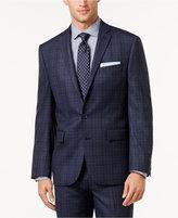 Ryan Seacrest Distinction Men's Slim-Fit Blue Flannel Glen Plaid Jacket, Only at Macy's