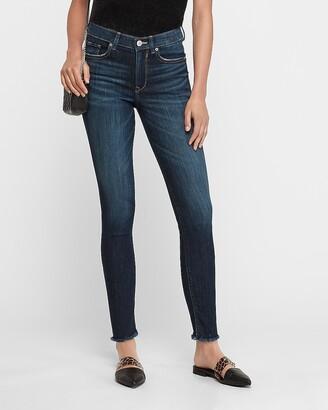 Express High Waisted Frayed Hem Ankle Skinny Jeans