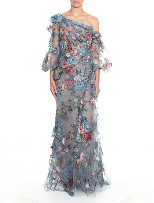 Marchesa Floral Applique One-Shoulder Gown