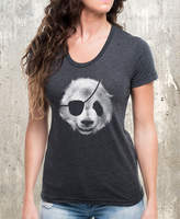 Etsy Panda Bear Pirate Women's T-Shirt- American Apparel Women's T-Shirt - Heather Black