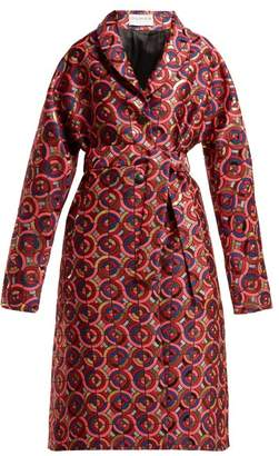 Osman Margeaux Single-breasted Geometric-jacquard Coat - Womens - Pink Multi
