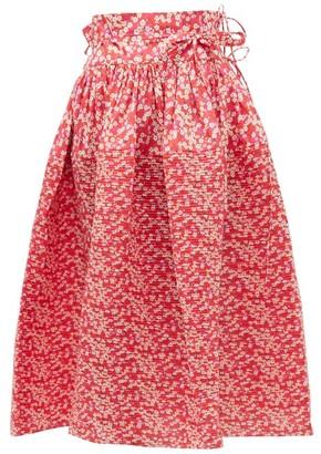 Horror Vacui Toga Floral-print Cotton Midi Skirt - Womens - Red Multi