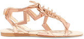 Stella McCartney Metallic Faux Patent-leather Sandals - Rose gold