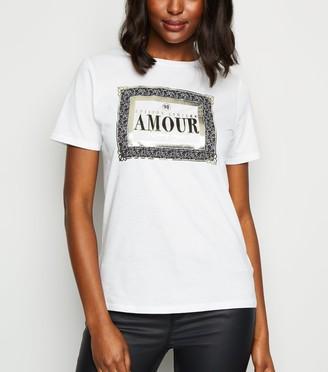 New Look Metallic Lace Print Box Slogan T-Shirt