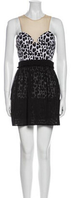 Three floor Animal Print Mini Dress w/ Tags Black