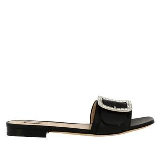 Bally Janna Flat Cristal Sandal In Leather With Rhinestone Buckle