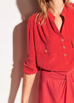 Vince Washed-Silk Utility Blouse