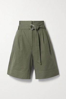 Tibi Jenson Belted Pleated Cotton-twill Shorts - Army green