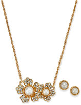 Charter Club Gold-Tone Cubic Zirconia and Imitation Pearl Flower Pendant Necklace & Stud Earrings Set, Created for Macy's