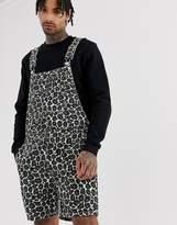 Asos Design DESIGN slim short overalls in leopard print