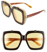 Gucci Women's 55Mm Flip-Up Sunglasses - Havana/ Yellow