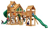 Gorilla Playsets Treasure Trove I Treehouse Swing Set with Amber Posts
