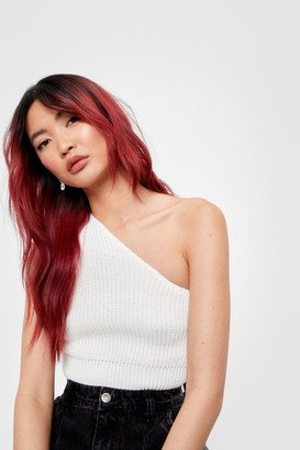 Nasty Gal Womens Break Even One Shoulder Knitted Top - White
