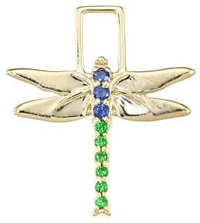 Robinson Pelham EarWish 14K Yellow Gold, Blue Sapphire & Tsavorite Dragonfly Single Earring Charm