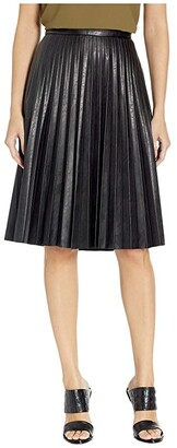 J.Crew Faux-Leather Pleated Midi Skirt (Black) Women's Skirt