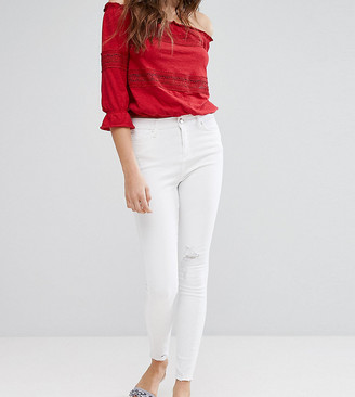 Miss Selfridge Frayed Hem Skinny Jeans-White