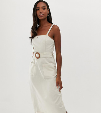 Asos Tall DESIGN Tall square neck linen midi sundress with wooden buckle & contrast stitch-Beige