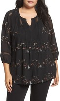 Daniel Rainn Plus Size Women's Floral Embroidered Top