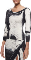 Donna Karan Printed 3/4-Sleeve Top