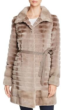 Maximilian Furs Grooved Sheared Kopenhagen Mink & Long Hair Mink Fur Coat - 100% Exclusive