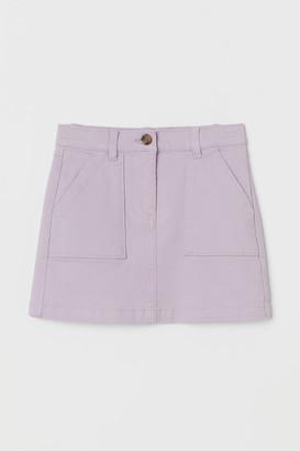 H&M Cotton Twill Skirt - Purple