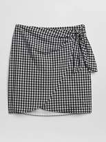 Gingham Print Wrap Mini Skirt
