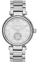 Michael Kors Silvertone Skylar Watch with Baguettes on Top Ring