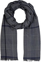 Colombo MEN'S PLAID TWILL SCARF-NAVY