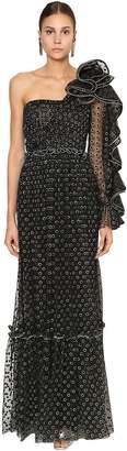 Alberta Ferretti Long Embellished Sheer Tulle Dress